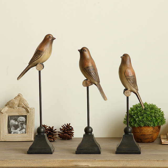 1PC Resin Bird Figurine Ornaments American Country Style Creative  Artificial Les Oiseaux Decorative Home Decor Wedding