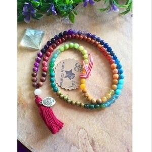 Браслет из натуральной цветной энергии чакры, 8 мм, браслет ручной работы из 108 малы с подвеской в виде дерева жизни, ожерелье с кисточками для йоги, Прямая поставка