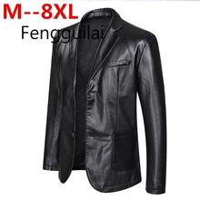 10XL 8XL 6XL 5XL 4XL  PU Leather Jacket Men Autumn Winter Casual Jackets Solid Clothes Elastic Motorcycle Outerwear FENGGUILAI