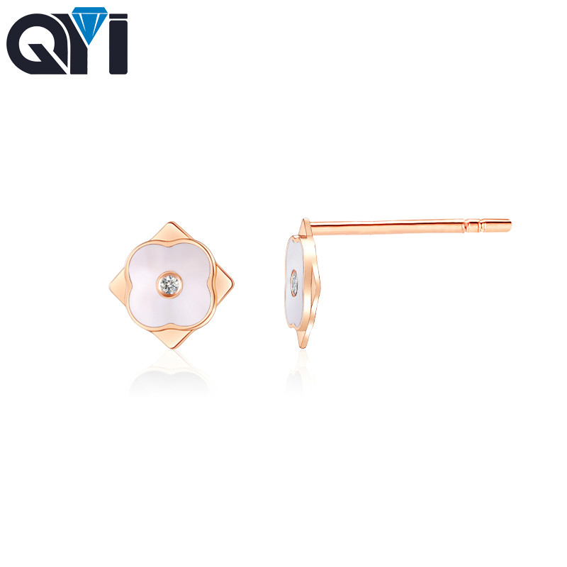 QYI New 0.02ct Diamond Screw earrings gold 18K Luxury Jewelry for women small diamond two color for chooseQYI New 0.02ct Diamond Screw earrings gold 18K Luxury Jewelry for women small diamond two color for choose