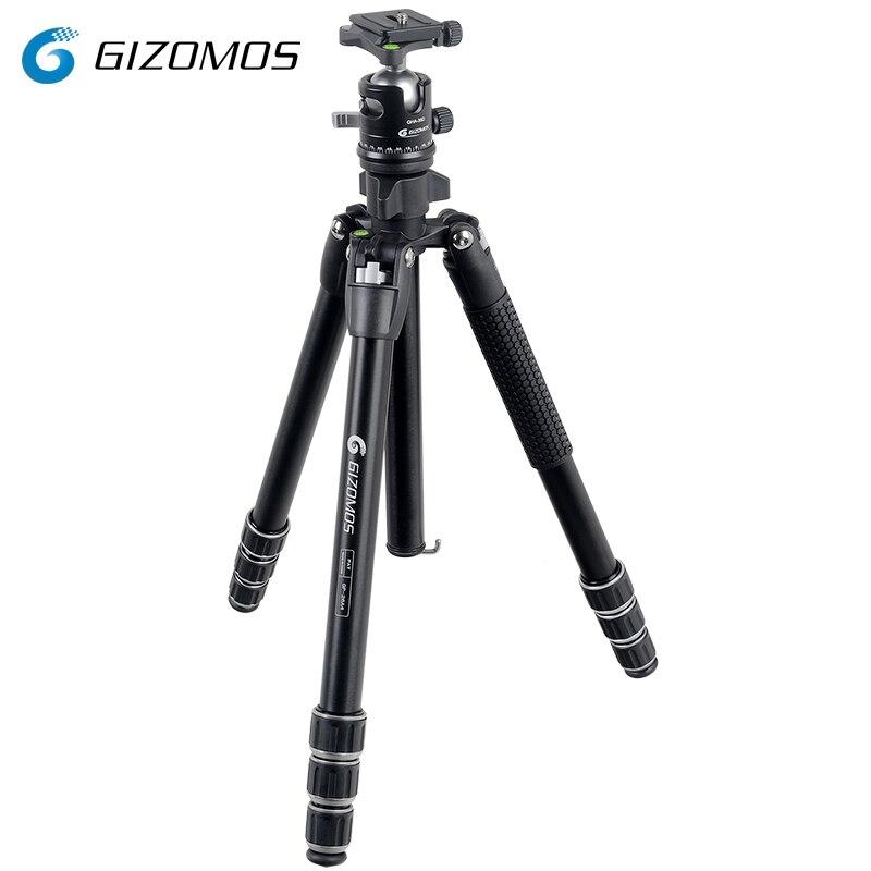 GIZOMOS GP-26A4 + GHA-35D Kit de rotule de trépied en aluminium pliable Stable pour appareil photo numérique Sony Canon