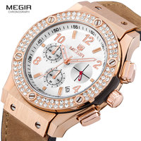 Megir Luxury Brand Design Ladies Watch Women Gold leather silicone Bracelet rhinestone Crystal Diamond Quartz Watch Clock Women