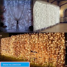 outdoor indoor Christmas home curtain wedding backdrop string curtain lamp warm white LED waterfall decoration lights(China)