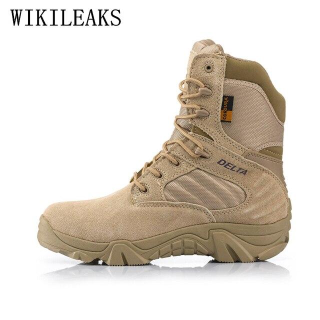 0a9a673fd6a 2019 Marque bottes militaires hommes désert bottines en cuir véritable  tactique bottes chaussures fans de L