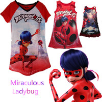 New Sell Like Hot Cakes Kids Miraculous Ladybug Cosplay Costume T Shirt Ladybug Romper Costume Women