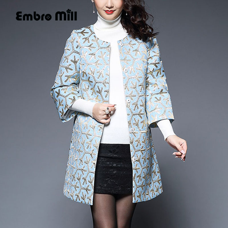 Vintage royal floral autumn coats woman Jacquard weave Windbreaker Chinese style loose lady elegant   trench   coat female S-4XL