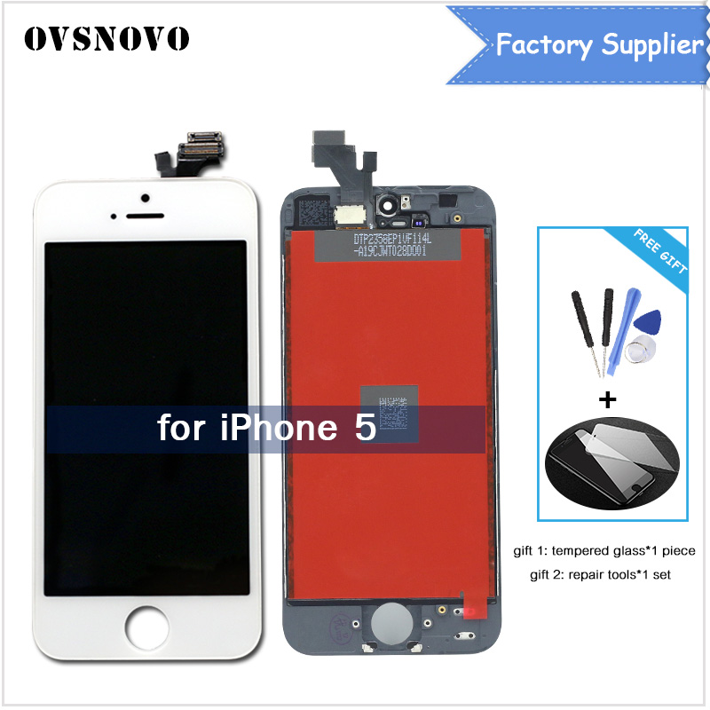 AAA Quality Screen For Apple iPhone 5 5G A1428 A1429 A1442 LCD Display Touch Screen Assembly With Digitizer+Tempered film+Tools