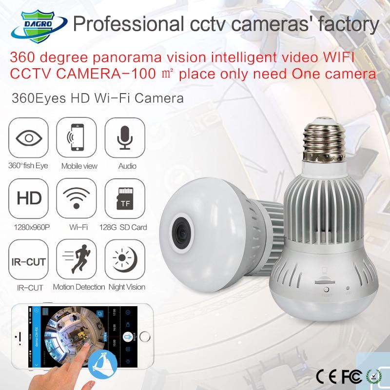 960P 360 degree Wireless Bulb Light IP Camera Wi-fi FishEye VR Mini CCTV Camera 1.3MP Home Security WiFi Camera Panoramic hiseeu light bulb camera vr 360 degrees wifi3d fisheye panoramic light camera network led