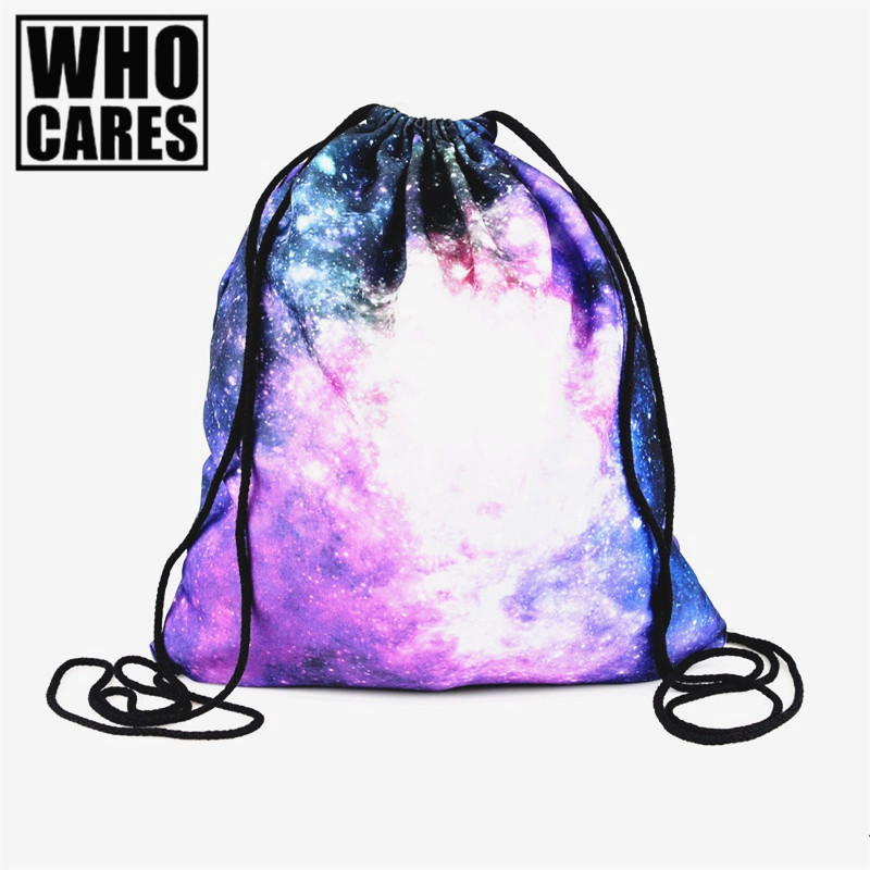 Galaxy pink 3D Printing mini backpack women 2016 Fashion Travel Drawstring bag mochila feminina backpacks sac a dosmochilas