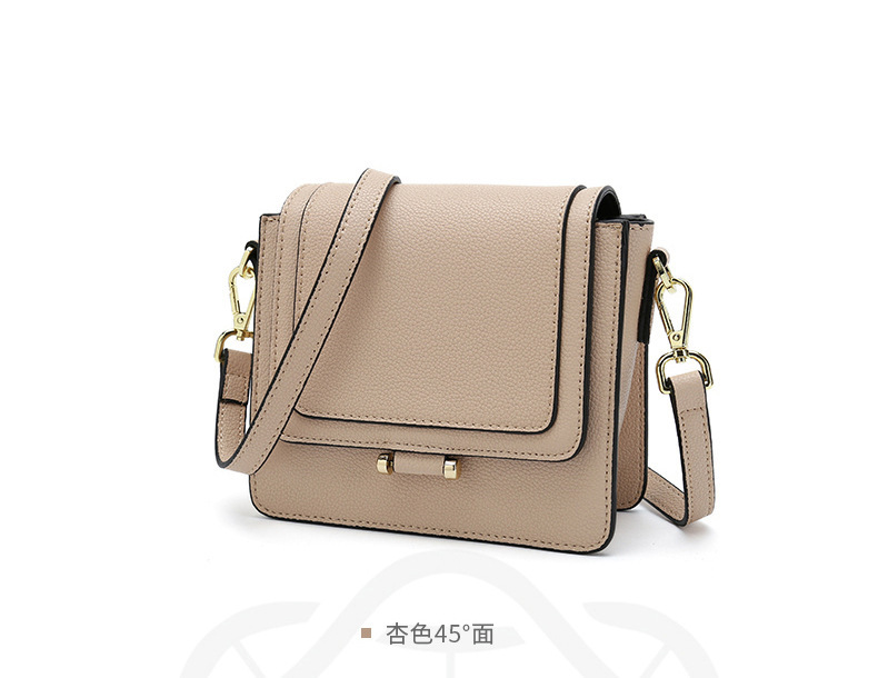 2019 spring and summer leather bag new lychee pattern matte small square bag simple wild single shoulder slung female bag in Shoulder Bags from Luggage Bags