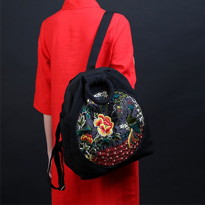 XIYUAN BRAND Vintage Embroidery Ethnic Backpack Women Handmade Flower Embroidered Bag Travel Bags Schoolbag Backpacks Mochila ethnic embroidered black cami dress for women