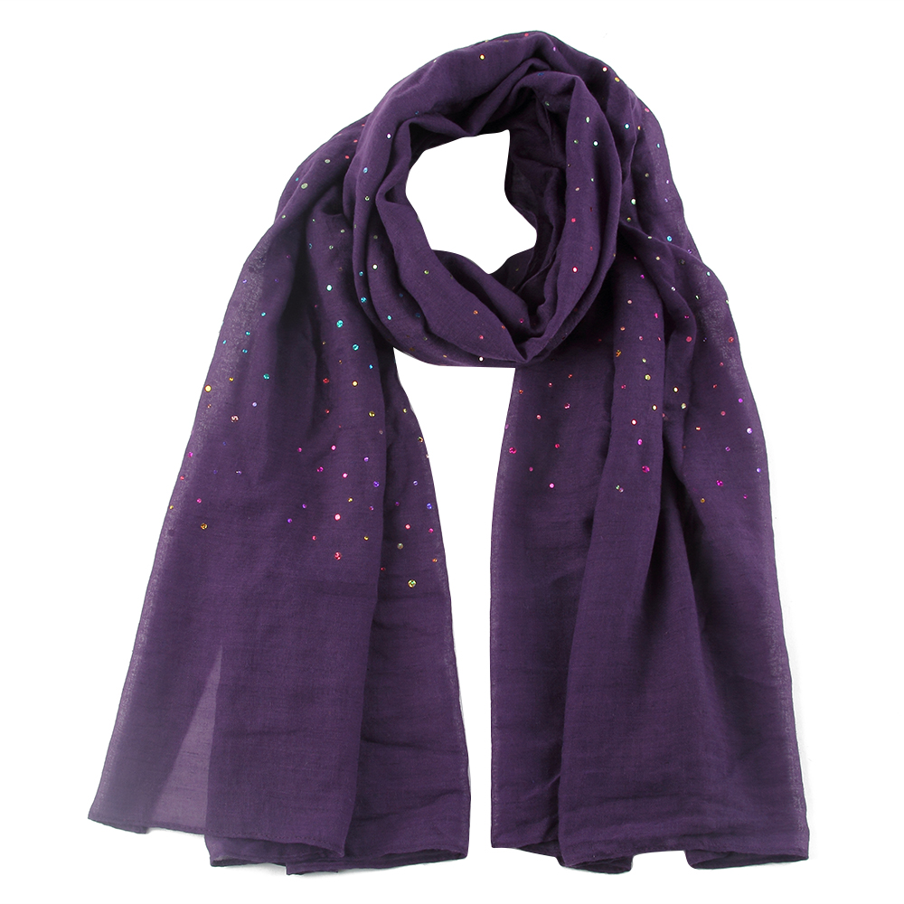 FOXMOTHER New Fashion Women Soft Lightweight Navy Purple Solid Colorful Sequin Muslim Hijab   Scarf   Shawl Ladies   Scarves