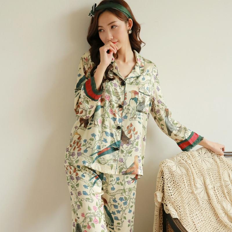 Spring Silk   Pajamas   High-end Sexy Female Pijama Mujer Rayon Printing   Pajamas     Set   Plus Size Long Sleeve Trousers Sleepwear Suit