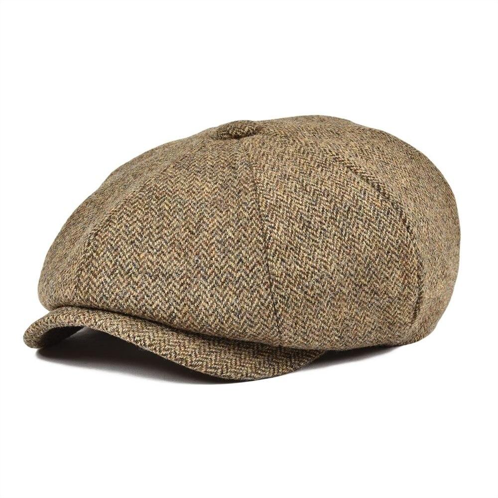 BOTVELA 100% Wool Tweed Newsboy Cap For Men Women Herringbone 8 Panel Apple Caps Cabbies Hat Woolen Headpiece Beret Hats 029