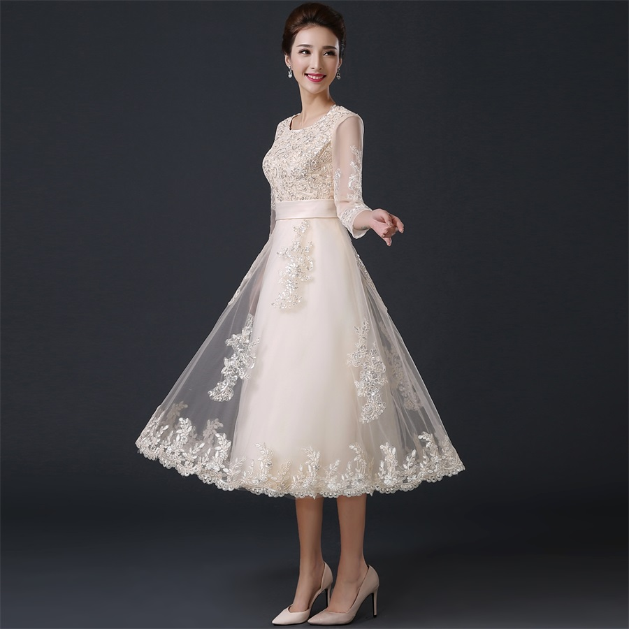 Tea length evening party dress 2016 winter half sleeves for Formal dresses for winter wedding