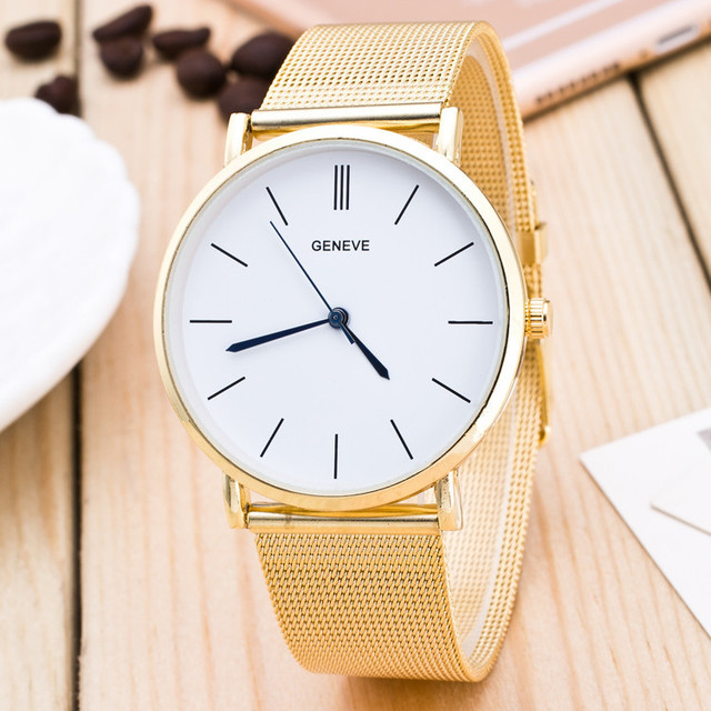 71935e69455 Brand New 2016 Relógio Das Mulheres Dos Homens Simples Relógio GENEVE Horas  Banda de Aço Inoxidável