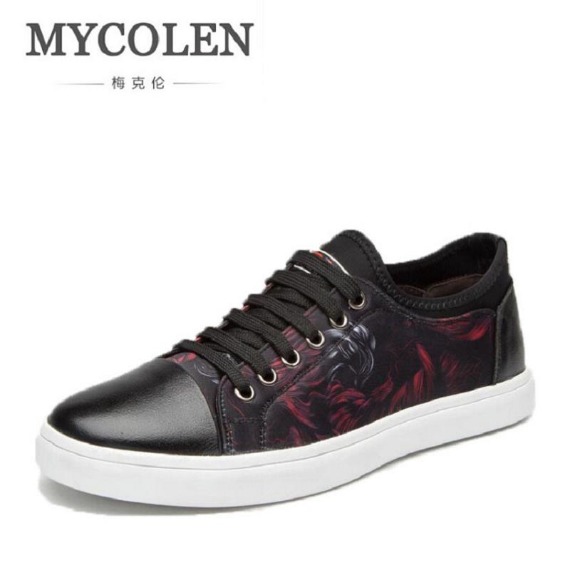 MYCOLEN Men Casual Shoes Personality Breathable Brand Printed Male Shoes Lace up Men Flats Spring Autumn Sapato Masculino 2017 new spring autumn men casual shoes breathable black high top lace up canvas shoes espadrilles fashion white men s flats