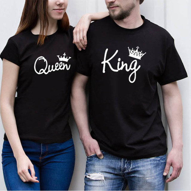 3e70234b63 Funny design print King queen crown black couple short sleeve T-shirt  summer hot selling simple joker loose tshirt plus size