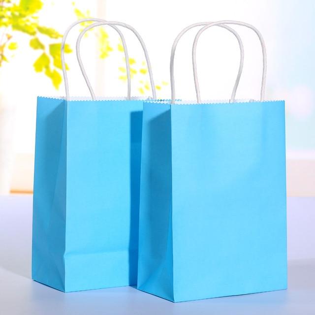 40pcs Lot Blue Kraft Paper Bag With Handle Wedding Party Favor Paper