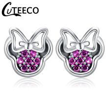 CUTEECO 2018 New Popular Silver Color Brand Earring Red Mickey Shape Sparkling Minnie Fashion Jewelry for Women Stud