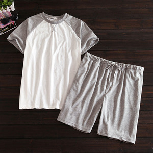 Image 3 - Più il formato 100% pantaloncini di cotone pigiama set degli uomini di Estate del manicotto del bicchierino degli indumenti da notte per il maschio Coreano pijama hombre pigiama homme