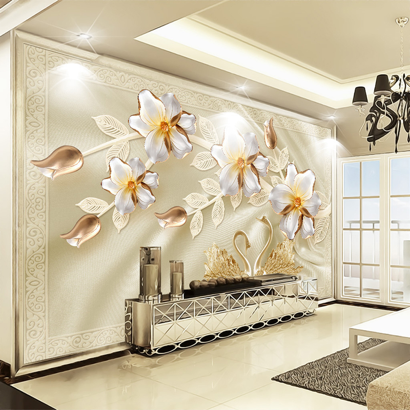 Custom 3D Wall Mural Wallpaper Luxury Silk Swan Flower Jewelry TV Background Wall Papers Home Decor Living Room Modern Painting