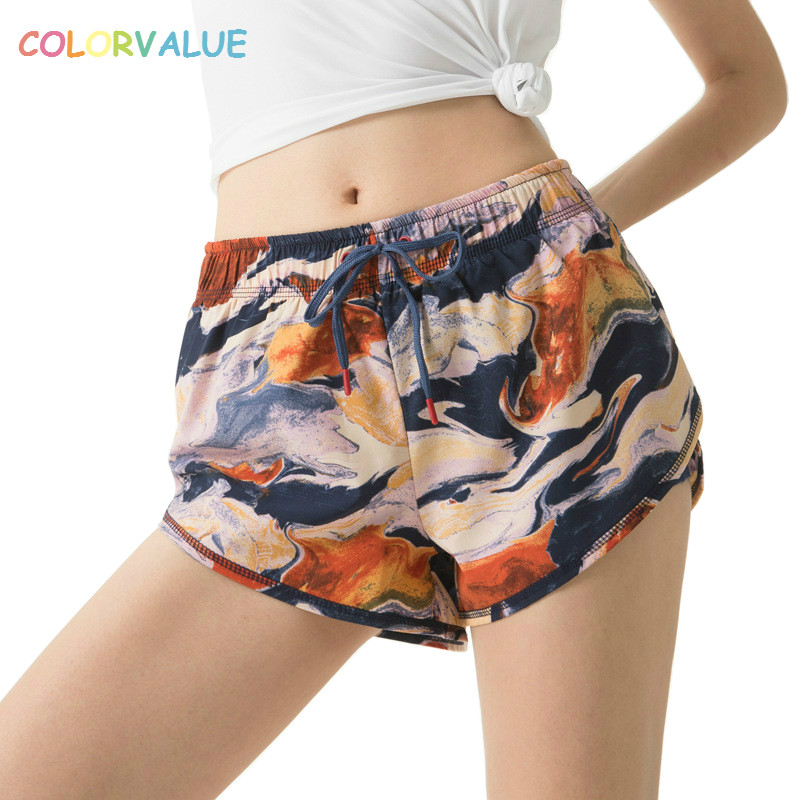Colorvalue New Mid Waist Fitness Yoga Shorts Women Quick Dry Printed Training Running Shorts Solid Gym Dance Shorts with Pocket stylish mid waist candy color slimming shorts for women