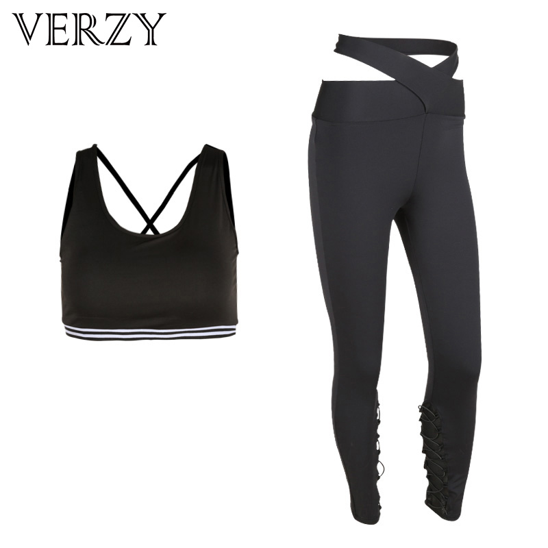 2018 2 Piece Set Bra&pants Women Yoga Set Fitness Running Legging Workout Sportwear Back Cross Tights Clothes Elastic Breathable