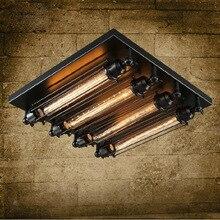 לופט ברזל אור התקרה 4 מנורת הנורה אדיסון תעשייה Steampunk מתכת פאנק וינטג רטרו דקו תאורה קבועה