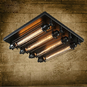 Image 1 - Loft sắt ánh sáng trần 4 bóng đèn edison công nghiệp Steampunk kim loại punk đèn Vintage retro deco Chiếu Sáng Lịch Thi Đấu
