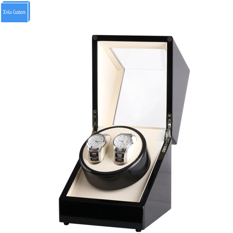 Automatic Horloge Watch Winder Wood Box 2 Grids Roate Motor Watch Winder Case Shipping Uhrenbeweger Remontoir Montre Automatique new arrival black color carbon fibre wood watch winder german ultra quiet 5 modes watch winder