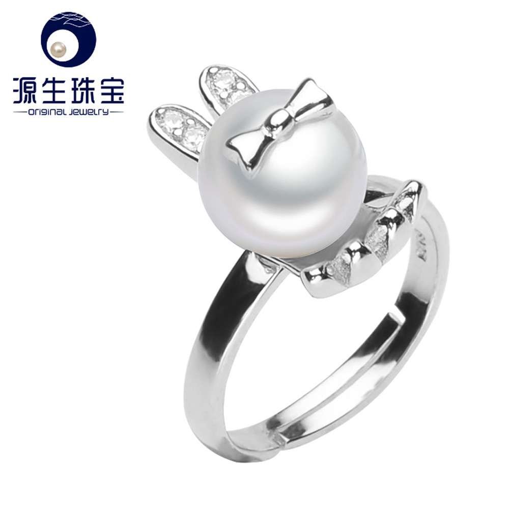 100% real freshwater pearl ring for women 925 sterling silver adjustable ring 9–9.5mm AAAA natural pearl jewelry YSETB003