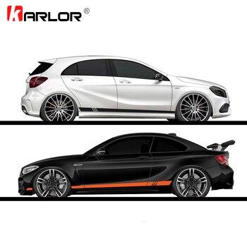 2 sztuk/partia 220x8cm Stripe Style boczne paski samochodów oba ciała naklejki naklejka Car Wrap Vinyl Film samochody produkty akcesoria samochodowe