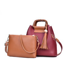 Soft PU European and American Style Tassel Two-piece Mother-in-law Shoulder Bag Fashion Simple Bucket Type Handbag 2019 New chanel allure sensuelle туалетные духи 50 мл