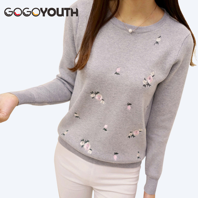 2017 Winter Sweaters Women Embroidery Ladies Pullover Female Autumn High Elastic Tricot Jumper Fashion Winter Tops