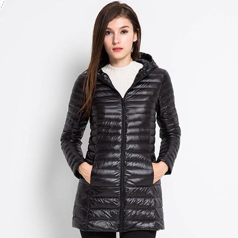 2018 Winter Jacket Women 80% white Duck   Down     Coat   Female Long   Down   Jacket   Coat   slim hooded outerwear ZG005