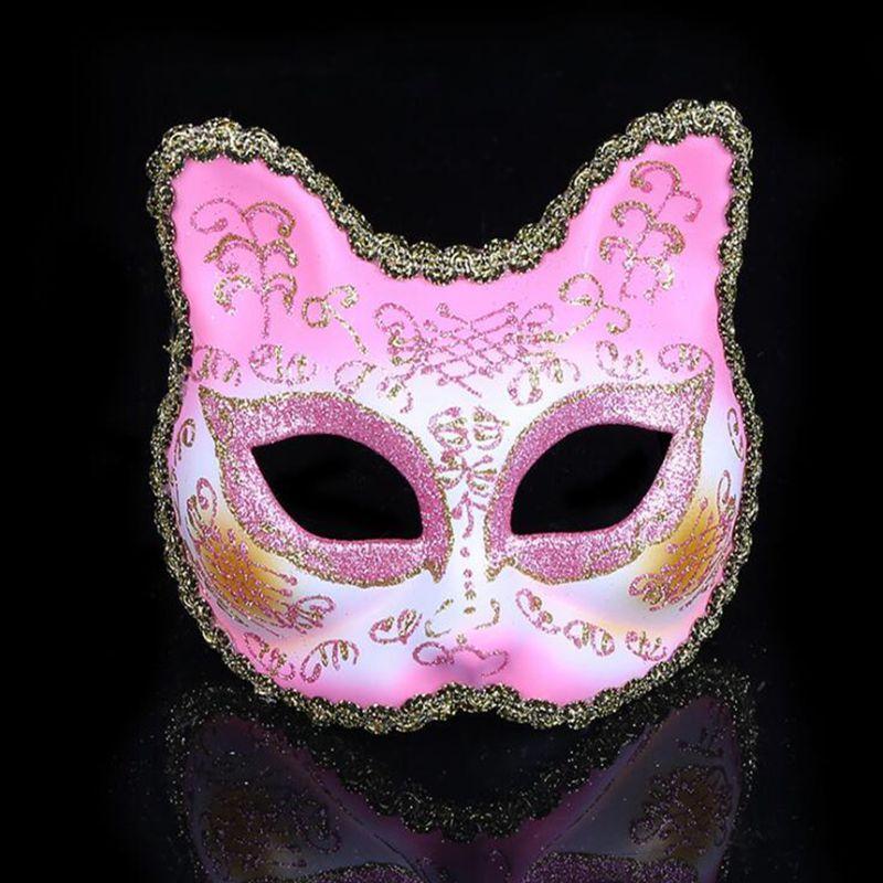 Gnhyll Moda Boyama Kedi Venedik Maske Masquerade Tam Yuz Maskesi