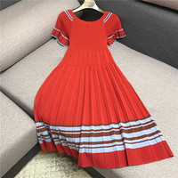 Luxury Designer Brand Knitted Dress for Women Casual O Neck Butterfly Sleeve Patchwork Striped Knitted Pleated Dress