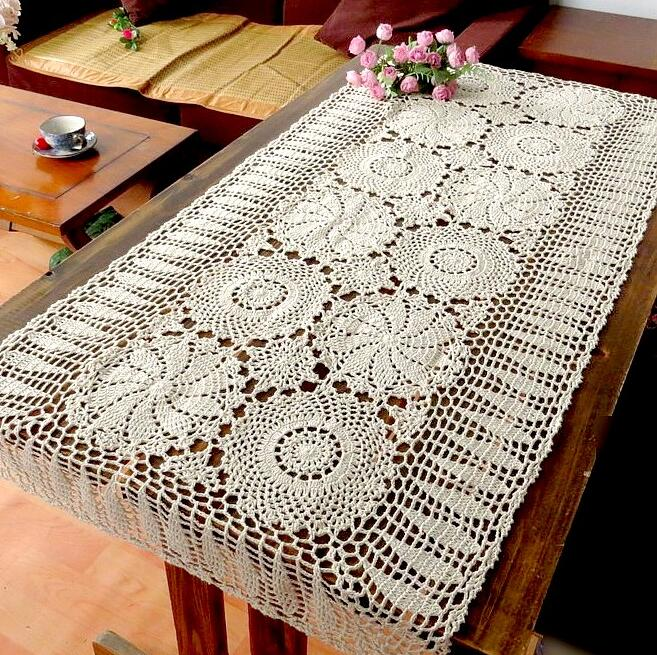 Handmade Crochet Flowers Tablecloth American Table Runner Village Sofa  Towel Continental Lace Hollow Doilies Coffee Table