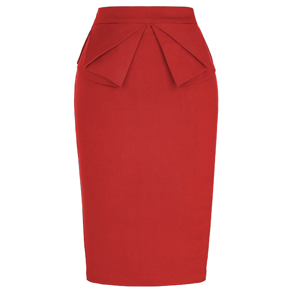 Women Pencil Skirt 2017 Bodycon Bandage High Waist Skirt Zipper Split Short Skirts Womens Red