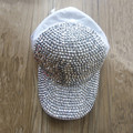 women  FULL  bling Rhinestone  Diamond  WHITE COTTON  baseball caps