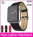 100% Genuine Leather watchbands with Connector Adapter Strap For Apple Watch Leather Band 42MM38MM With Sports Buckle Bracelet