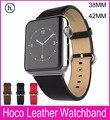 100% pulseiras de couro genuíno com conector adaptador strap para apple watch banda 42mm38mm com esportes de couro fivela pulseira