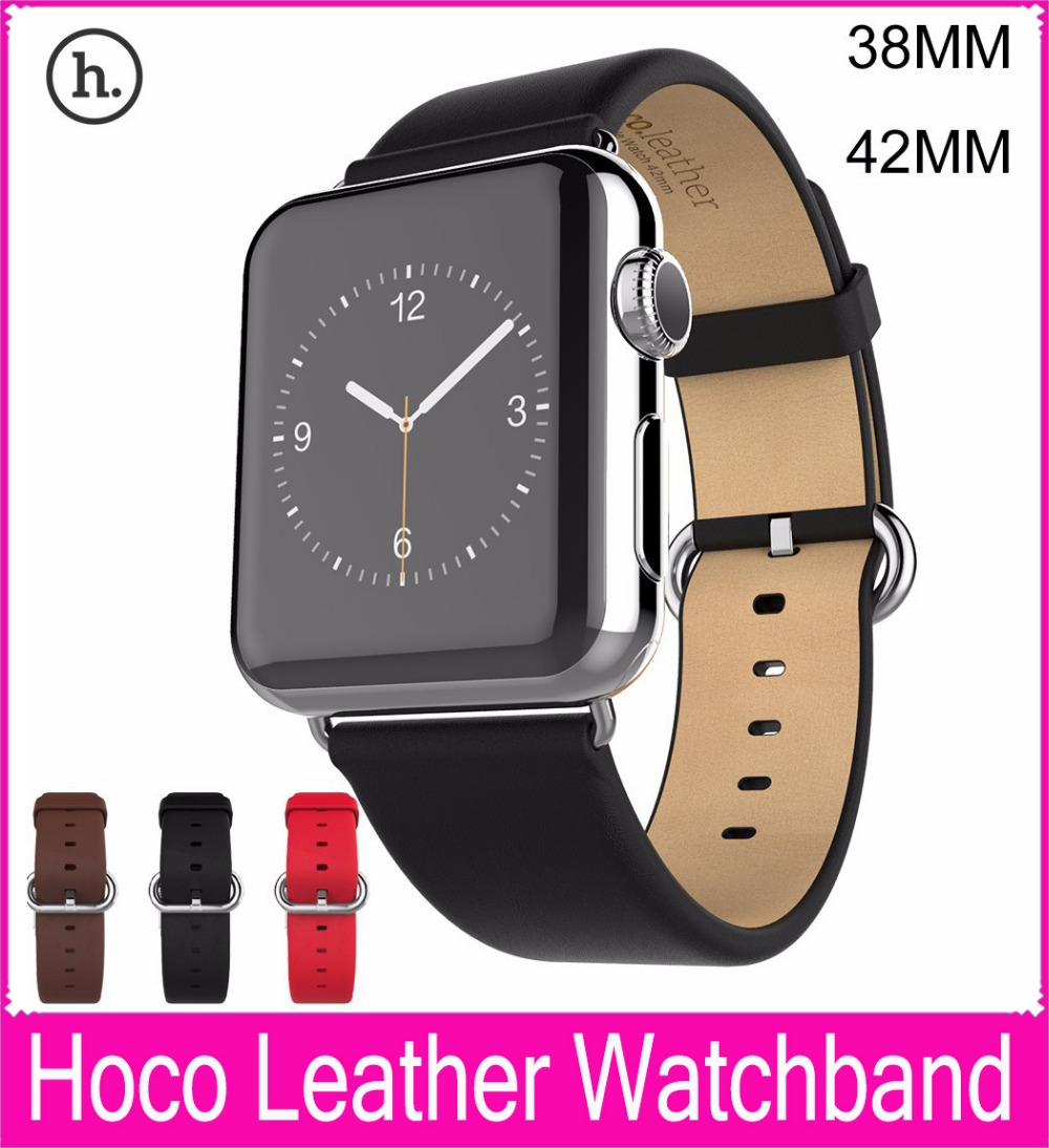 Hot Sale Genuine Leather Watchbands For Apple Watch Leather Band 42MM 38MM With Stainless Steel Adapters Fits Series 3 and 2 vik max adult kids dark blue leather figure skate shoes with aluminium alloy frame and stainless steel ice blade