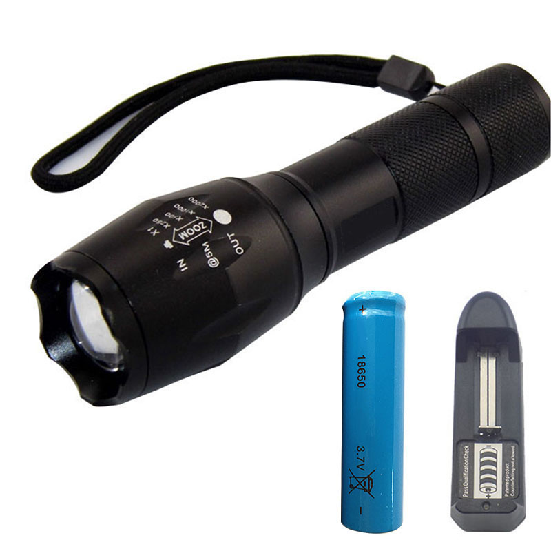 Zoomable  XM-L T6 Powerful Led Flashlight 18650 AAA battery Gladiator Flash light Torch Portable With AC charger For Hunting