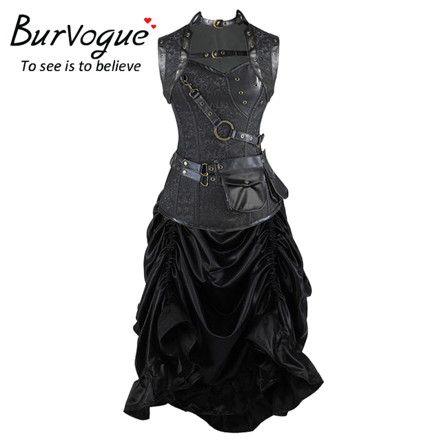 Burvogue Women Waist Trainer Corselet Gothic Steampunk Corset Dress Overbust  Slimming  Waist Cincher  and Waist Trainer
