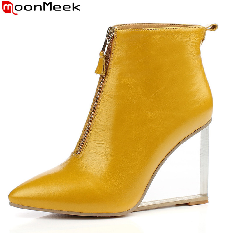 2016 new fashion women's transparent wedges high heels ankle boots pointed toe spring autumn fashion boots zipper wedge shoes 2016 new spring