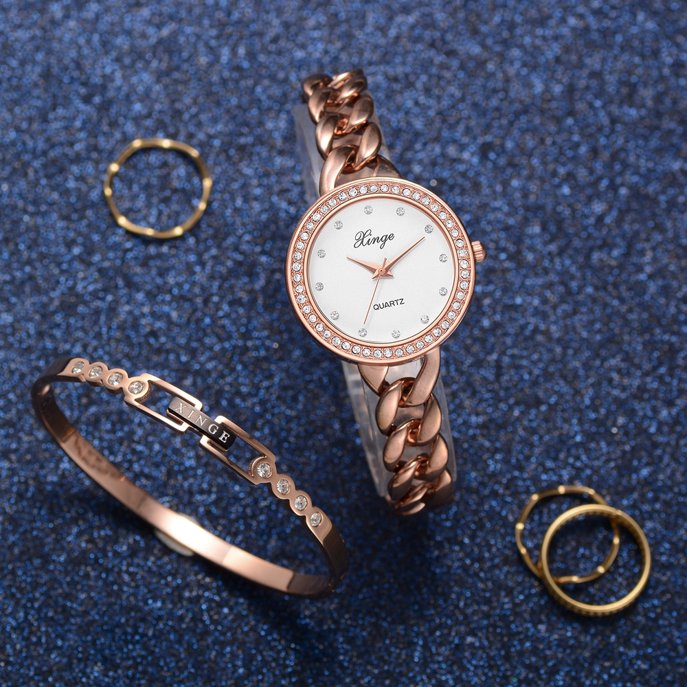 Xinge Brand Watches Women Fashion Watch 2018 Popular Watch Set Wristwatch Bracelet Waterproof Hot Sale Elegant Watches Suit xinge fashion brand popular watch women believe in yourself bracelet crystal wristwatch set girls gift clock women 2018 watches