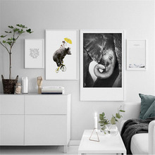 HAOCHU Nordic Modern Canvas Print Decoration Animal Elephant Bear Text Landscape Personality Home Wall Art Poster Decorations