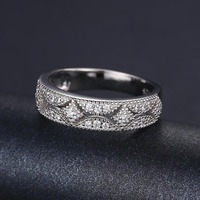 Vintage 925 Sterling Silver Simulated Diamond Cubic Zirconia Band Closed Ring Wedding Engagement Ring Wedding Bands